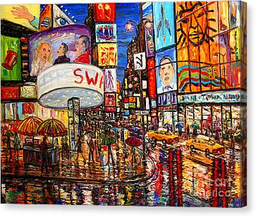 Times Square With Lion King Canvas Print by Arthur Robins