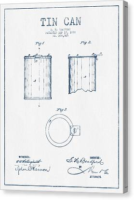 Container Canvas Print - Tin Can Patent Drawing From 1878 - Blue Ink by Aged Pixel