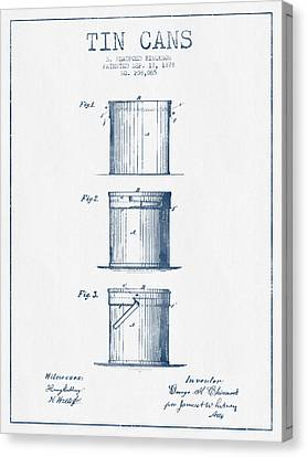 Tin Cans Patent Drawing From 1878 - Blue Ink Canvas Print by Aged Pixel