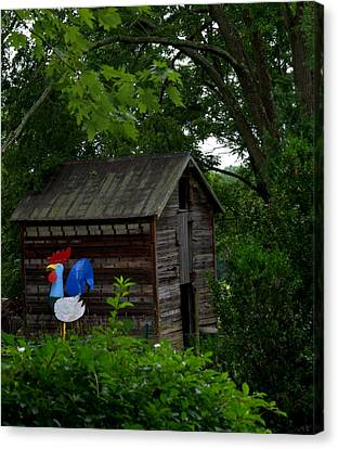 Canvas Print featuring the photograph Tin Rooster by Cathy Shiflett