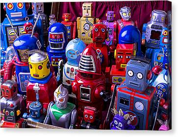 Tin Toy Robots At The Ready Canvas Print