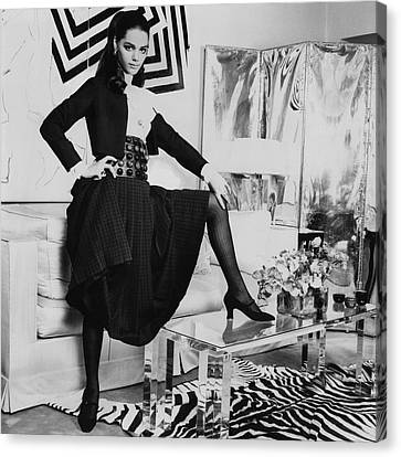 1960s Hairstyles Canvas Print - Tina Aumont In A Living Room by Henry Clarke