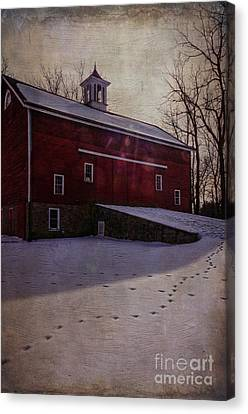 Canvas Print featuring the photograph Tinicum Barn In Winter by Debra Fedchin