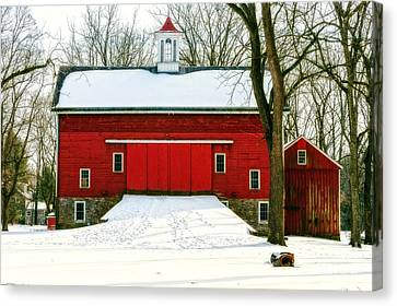 Tinicum Barn In Winter II Canvas Print