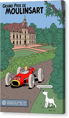Foundation Canvas Print - Tintin Grand Prix De Moulinsart 1965  by Georgia Fowler