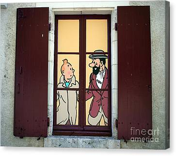 Tintin Window Chateau Cheverney France Canvas Print by Ros Drinkwater