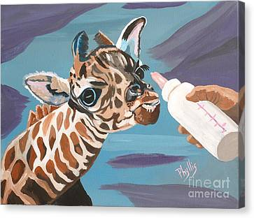 Tiny Baby Giraffe With Bottle Canvas Print by Phyllis Kaltenbach