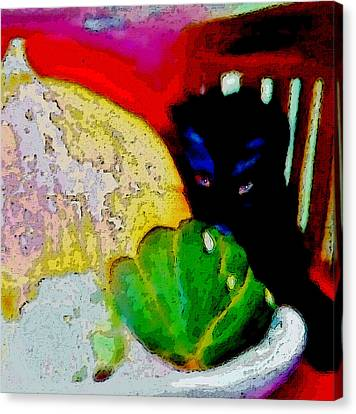 Canvas Print featuring the painting Tiny Black Kitten by Lisa Kaiser