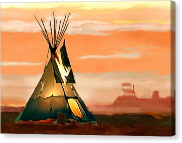 Tipi Or Tepee Monument Valley Canvas Print by Bob and Nadine Johnston