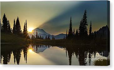 Tipsoo Rainier Sunstar Canvas Print by Mike Reid