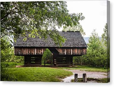 Tipton Cantilever Barn Cades Cove Canvas Print by Cynthia Woods