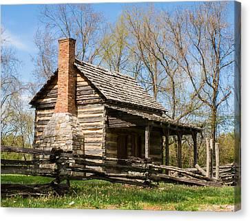 Side Porch Canvas Print - Tipton Hayes Log Cabin 10 by Douglas Barnett