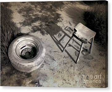 Tire And Stool Canvas Print by Gregory Dyer