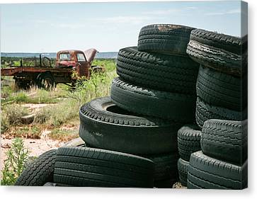 Tire Pile At A Junk Yard, Cuervo, New Canvas Print by Julien Mcroberts