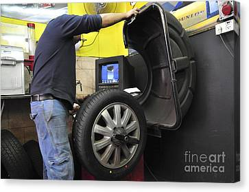 Tire Workshop And Garage Canvas Print by PhotoStock-Israel