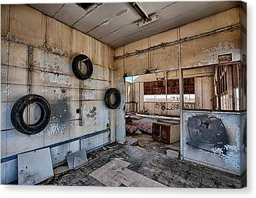 Tired Building Canvas Print by Peter Tellone