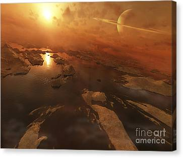 Titan Boasts Liquid Hydrocarbon Lakes Canvas Print by Steven Hobbs