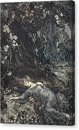 Shakespearean Canvas Print - Titania Lying Asleep, Illustration by Arthur Rackham