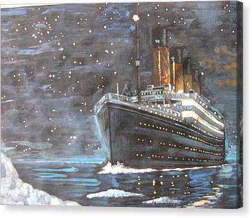Canvas Print featuring the painting Titanic Heading To Disaster by Vikram Singh