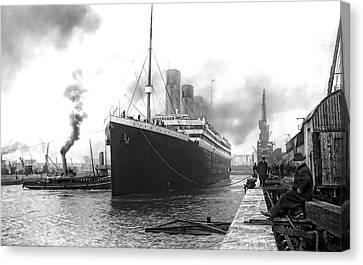 Belfast Canvas Print - Titanic In Southampton Harbor by Daniel Hagerman