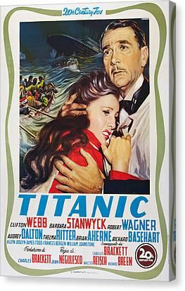 Titanic, L-r Barbara Stanwyck, Clifton Canvas Print by Everett