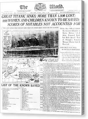 Titanic Sinking Headlines Canvas Print by Underwood Archives