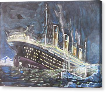 Canvas Print featuring the painting Titanic Sinking by Vikram Singh