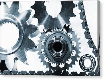 Titanium Aerospace Parts In Blue Canvas Print