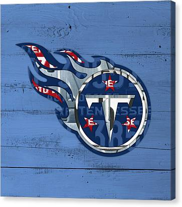 Titans Football Team Retro Logo Recycled Tennessee License Plate Art Canvas Print