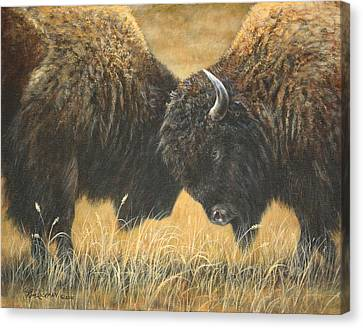 Canvas Print featuring the painting Titans Of The Plains by Kim Lockman
