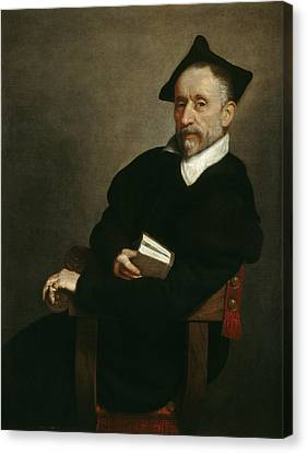Titian S Schoolmaster Canvas Print by Giovanni Battista Moroni