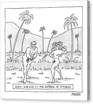 Title: Adam And Eve In The Garden Of Fitness Canvas Print by Jack Ziegler