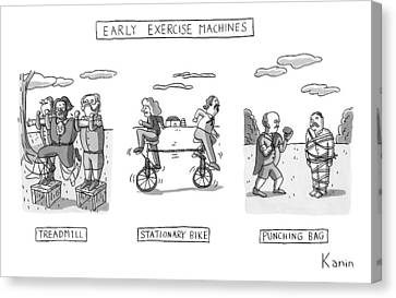 Title: Early Exercise Machines. Three Early Canvas Print