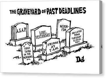 Title: Graveyard Of Past Deadlines.  A Graveyard Canvas Print by Drew Dernavich