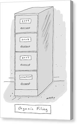 Organic Canvas Print - Title: Organic Filing. A File Cabinet Has Drawers by Kim Warp