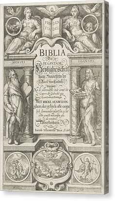 Title Page For Biblia Dat Is De Gantsche Heylige Script Canvas Print by Jacob Matham And Jacob Ijsbrantsz Bos