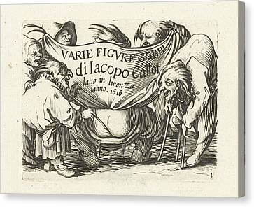 Title Page For Series Several Dwarfs, Varie Figure Gobbi Di Canvas Print by Jacques Callot And Abraham Bosse