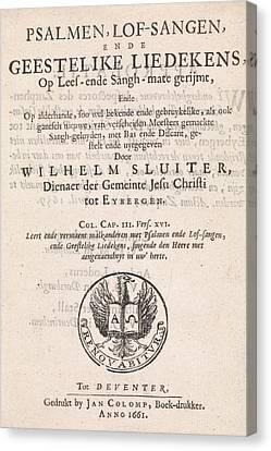 Title Page For Willem Sluiter, Psalms, Psalmen Canvas Print