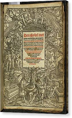 Title Page From A Dutch Bible Canvas Print