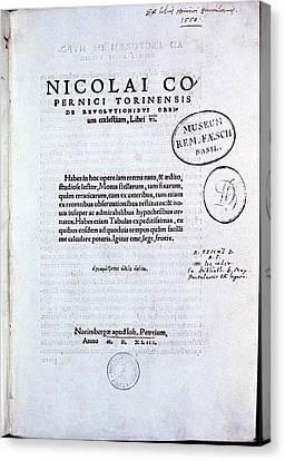 Title Page Of De Revolutionibus Canvas Print
