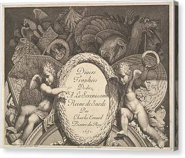 Title Page Of Divers Troph�es Weapon Canvas Print by Polidoro da Caravaggio