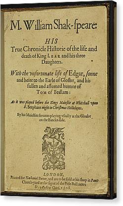 Title Page Of 'king Lear' Canvas Print by British Library