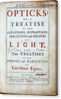 Title Page Of Newton's Opticks Canvas Print by Universal History Archive/uig