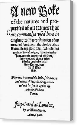Title Page Wine Book, 1568 Canvas Print by Granger