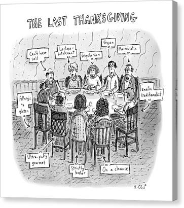 Title: The Last Thanksgiving. Family Seated Canvas Print by Roz Chast