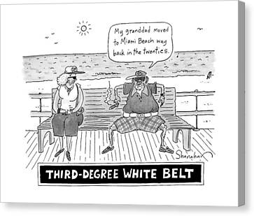 Title: Third Degree White Belt. An Old Man Canvas Print by Danny Shanahan