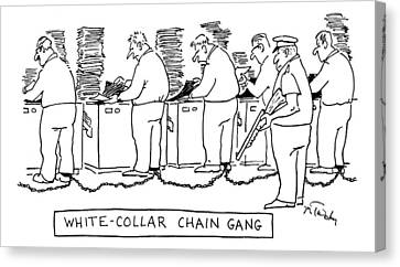 Title: White Collar Chain Gang Office Workers Canvas Print by Mike Twohy
