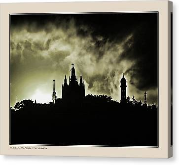 Canvas Print featuring the photograph Tividabo. Dramatic Sunset by Pedro L Gili