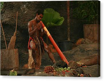 Tjapukai Playing The Didgeridoo Canvas Print by Cecelia Helwig