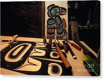 Tlingit Workshop Canvas Print by Ron Sanford